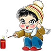 Lighting Firecrackers for Chinese New Year